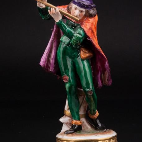 Фарфоровая статуэтка Уличный музыкант, менестрель с флейтой, Rudolf Kammer, Германия. Уличный музыкант, менестрель с флейтой, Rudolf Kammer, Германия.