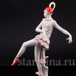 Фарфорвая статуэтка Танцующая девушка с пером, Volkstedt, Германия, нач. 20 в.