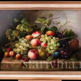 Картина маслом Натюрморт с персиками и ежевикой, Германия,.