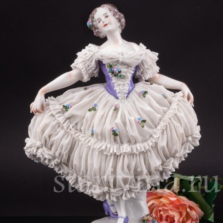 Фарфоровая статуэтка Балерина, кружевная Volkstedt, Германия, нач. 20 в.