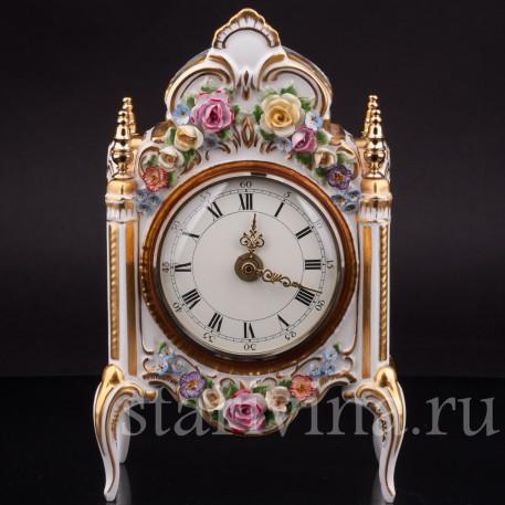 Фарфоровые часы Цветы, Hoffner & Co, Германия, 1960 гг.